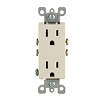 Decora Duplex Receptacle Quickwire Push-In and Side Wired-Light Almond