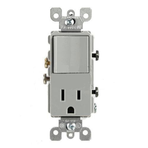 leviton decora combination switch single pole rocker and receptacle gray