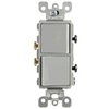 Leviton Decora Combination Switch Double Single-Pole Rocker-Gray
