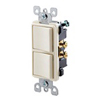 Leviton Decora Combination Switch Double Single-Pole Rocker-Ivory