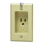 Leviton Recessed Single Wall Receptacle-Ivory
