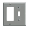 Leviton 2-Gang Combination Wall Plate 1 Decora and 1 Toggle Switch-Gray