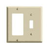Leviton 2-Gang Combination Wall Plate 1 Decora and 1 Toggle Switch-Ivory