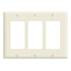Leviton 3-Gang Decora Wall Plate-Light Almond