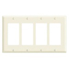 Leviton 4-Gang Decora Wall Plate-Almond