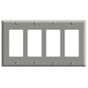 Leviton 4-Gang Decora Wall Plate-Gray