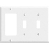 Leviton 3-Gang Combination Wall Plate 2-Toggle Switch and 1-Decora-White