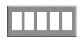 Leviton 5-Gang Decora Wall Plate-Gray