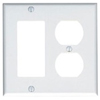 Leviton 2-Gang Combination Wall Plate 1-Decora and 1-Duplex Receptacle