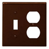 Leviton 2-Gang Combination Wall Plate 1-Toggle and 1-Duplex-Brown