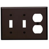 Leviton 3-Gang Combination Wall Plate 2-Toggle and 1-Duplex-Brown