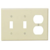 Leviton 3-Gang Combination Wall Plate 2-Toggle and 1-Duplex-Ivory