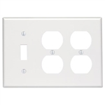 Leviton 3-Gang Combination Wall Plate-Ivory