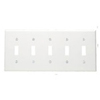 Leviton 5-Gang Toggle Switch Wall Plate-White