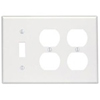 Leviton 3-Gang Combination Wall Plate 2-Duplex and 1-Toggle Switch-White