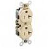 Leviton 20A Duplex Receptacle Commercial Grade with Self Grounding Clip-Ivory
