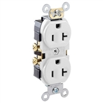 20A Duplex Receptacle Commercial Grade with Self Grounding Clip-White