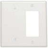 2-Gang Metal Decora Combination Wall Plate 1-Decora and 1-Blank-White
