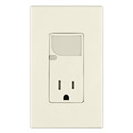 Combination Decora Tamper Resistant Receptacle LED Guide Light-Light Almond