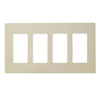 Lutron 4-Gang Claro Decorator Screwless Wall Plate-Ivory