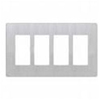 Lutron 4-Gang Claro Decorator Screwless Wall Plate-Stainless Steel
