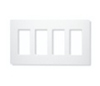 Lutron 4-Gang Claro Decorator Screwless Wall Plate-White