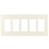 Lutron 5-Gang Claro Decorator Screwless Wall Plate-Almond