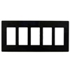 Lutron 5-Gang Claro Decorator Screwless Wall Plate-Black
