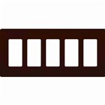Lutron 5-Gang Claro Decorator Screwless Wall Plate-Brown