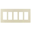 Lutron 5-Gang Claro Decorator Screwless Wall Plate-Ivory