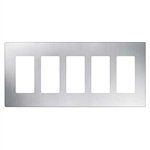 Lutron 5-Gang Claro Decorator Screwless Wall Plate-Stainless Steel