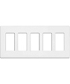 Lutron 5-Gang Claro Decorator Screwless Wall Plate-White