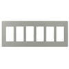 Lutron 6-Gang Claro Decorator Screwless Wall Plate-Gray