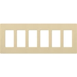 Lutron 6-Gang Claro Decorator Screwless Wall Plate-Ivory