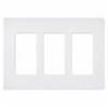 Lutron 3-Gang Satin Colors Screwless Decorator Wall Plate-Matte White