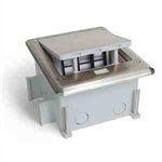 Lew Electric OB-1-SH-6PORT Floor Box Outdoor IP66 Six Keystone Stainless w/ Secured Top, Pop-Up - Stainless Steel