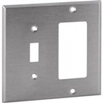 Orbit OS126 Electric Wall Plate, Decora & Toggle Switch 2-Gang - Stainless Steel