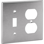 Orbit OS18 Electric Wall Plate, Toggle Switch & Duplex 2-Gang - Stainless Steel