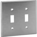Orbit OS2 Electric Wall Plate, Toggle Switch 2-Gang - Stainless Steel