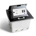 Lew Electric PUFP-CT-BK-2USB Countertop Box, Pop Up w/15A & Single Power/2 USB Receptacle - Black