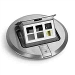 "Lew Electric PUFP-SC Floor Box, 6"" Pop Up w/6 Communications/Data Ports - Stainless Steel"