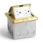 Lew Electric PUFP-SQ-BR-USB Floor Box Kit, Pop Out Floor Plate Assembly w/ 15 Amp (TR) Duplex Power/2 USB Receptacle, Single Gang - Brass