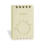 Cadet T410B-A Thermostat, 22A Double Pole Heat Only Bimetal Wall Mount - Almond