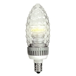 TCP - 3 Watt Dimmable LED - Decorative Torpedo - Faceted Straight Tip - 3000K Warm White - 90 Lumens - 15 Watt Equal - Candelabra Base - 120 Volt