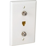 Orbit WJ-64F2-W Wall Jack, Modular 1 x RJ11 Jack & 2 x F-Connectors - White