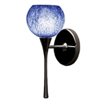 WAC Lighting - Rhea European Collection Wall Sconce - Blue Shade - Rubbed Bronze - WS57LED-G599BLRB