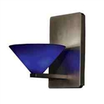 WAC Lighting - Jill Contemporary Collection Wall Sconce - Blue Shade - Rubbed Bronze - WS58LED-G512BLRB