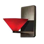 WAC Lighting - Jill Contemporary Collection Wall Sconce - Red Shade - Rubbed Bronze - WS58LED-G512RDRB