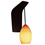 WAC Lighting - Lauren Contemporary Collection Wall Sconce - Amber Shade - Brushed Nickel - WS72-G613AM-BN
