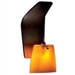 WAC Lighting - Ella Contemporary Collection Wall Sconce - Amber Shade - Brushed Nickel - WS72LED-G513AM-BN
